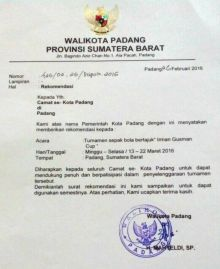 Dukung Irman Gusman Cup, Walikota Padang Keluarkan Rekomendasi Untuk Seluruh Camat