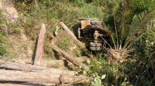 Truk Bermuatan Kayu Balok Terbalik di Dharmasraya, Satu Pekerja Tewas Tertimpa