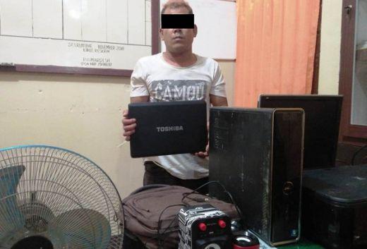 Pencuri Komputer dan Laptop Sekolah Ditangkap Polsek Sungai Rumbai
