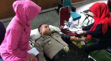 Peringati HUT Polri Ke-73, Polres Dharmasraya Gelar Donor Darah