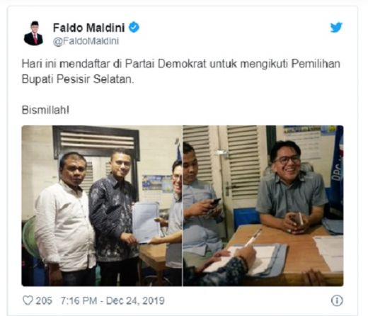 Batal Maju di Pilgub Sumbar, Faldo Maldini Daftar Pilbup Pesisir Selatan Lewat Demokrat