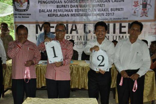 Ini Hasil Pengundian Nomor Urut Pasangan Calon Bupati Kepulauan Mentawai