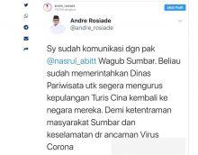 Demi Mencegah Virus Corona, Wagub Sumbar Perintahkan Kadispar Urus Kepulangan Wisatawan China