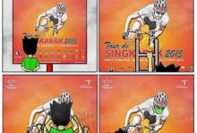 Kartun Unik Kritik Tour de Singkarak, Gara-gara Asap Pembalap Diberi Masker oleh si Bujang