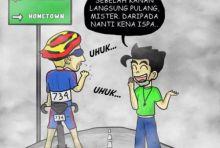 Kartun Unik Kritik Tour de Singkarak, Si Bujang Suruh Mister Belok Kanan dan Langsung Pulang