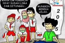 Kartun Unik Kritik Tour de Singkarak, Si Bujang Menunggu Pembalap Sampai Lima Jam